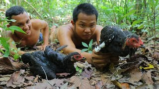 Hunting Wild Chicken and Cooking In Forest Eating Delicious