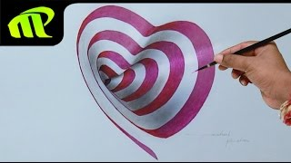 Drawing a 3D Heart Hole | 3D Trick Art Drawing on Paper