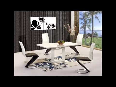 White High Gloss Black Gl Dining Tables And Chairs Set