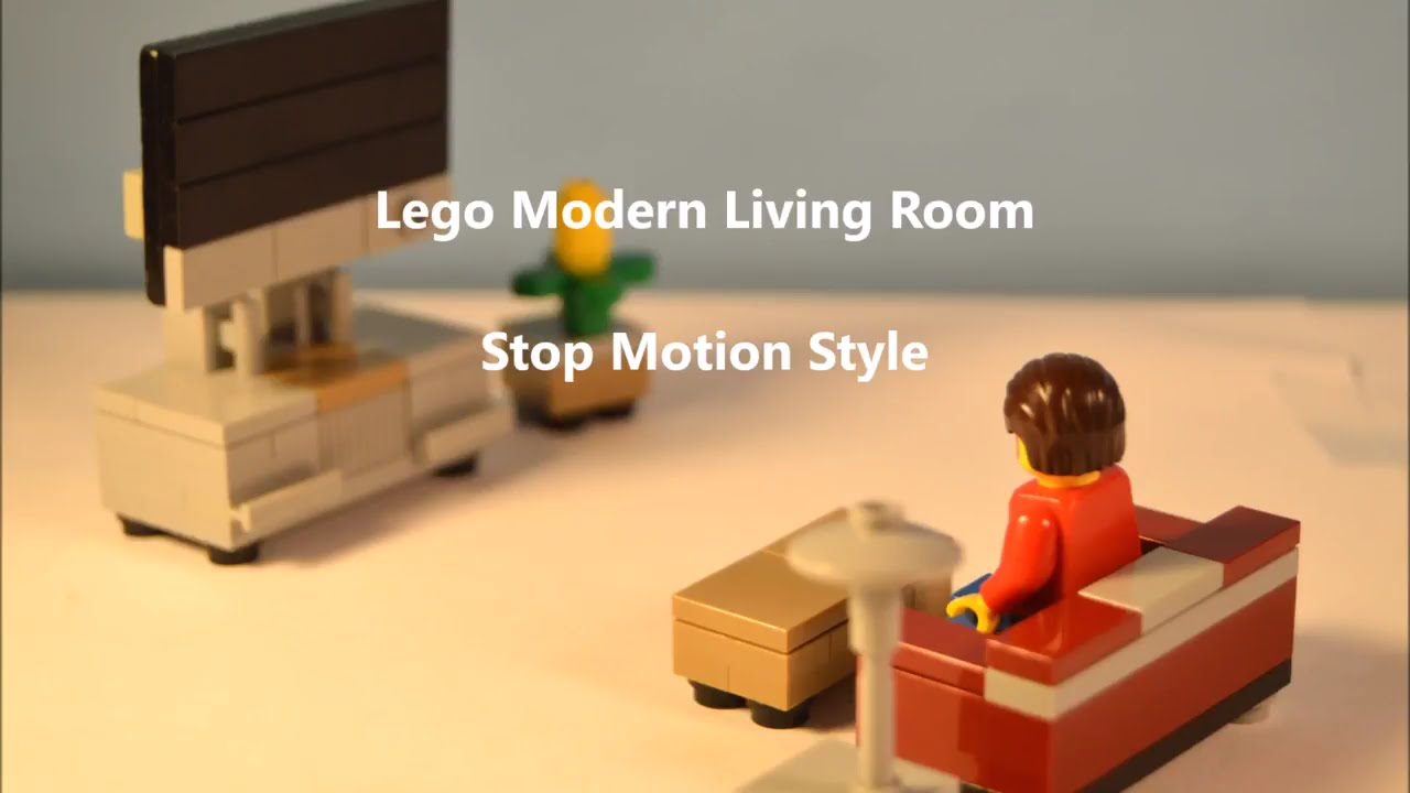 Build Living Room Furniture Red Couches In Modern Lego Stop Motion Youtube
