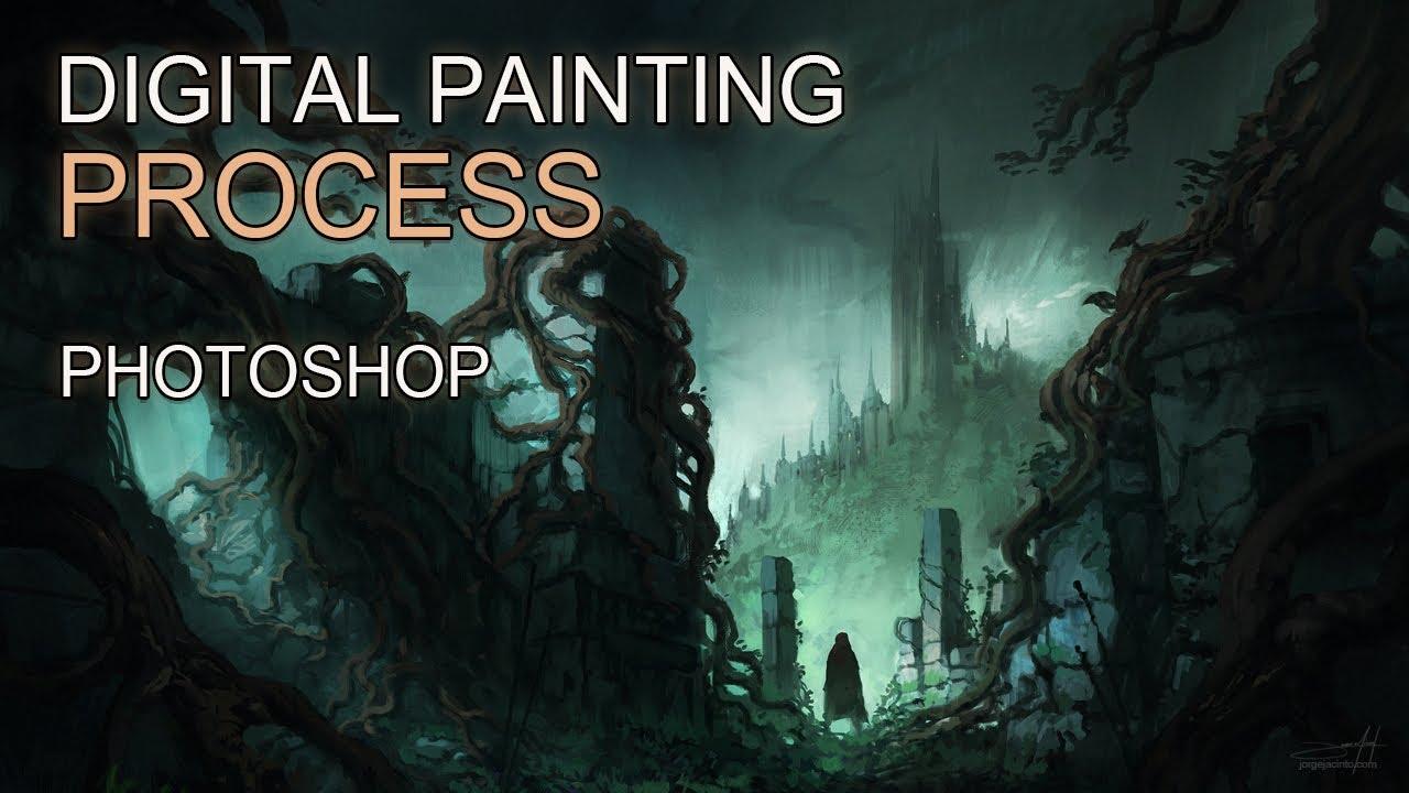 1920x1080 Wallpaper Futuristic Girl Digital Painting Dark Fantasy Ii Landscape Concept Art