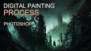 Digital Painting - Dark Fantasy II Landscape Concept Art - Time-lapse