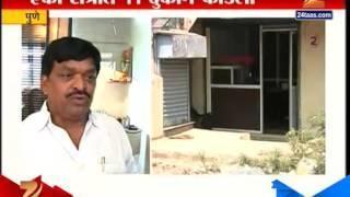 Pune : Threat Of Robbers Break Down 11 Shops 30th September 2015
