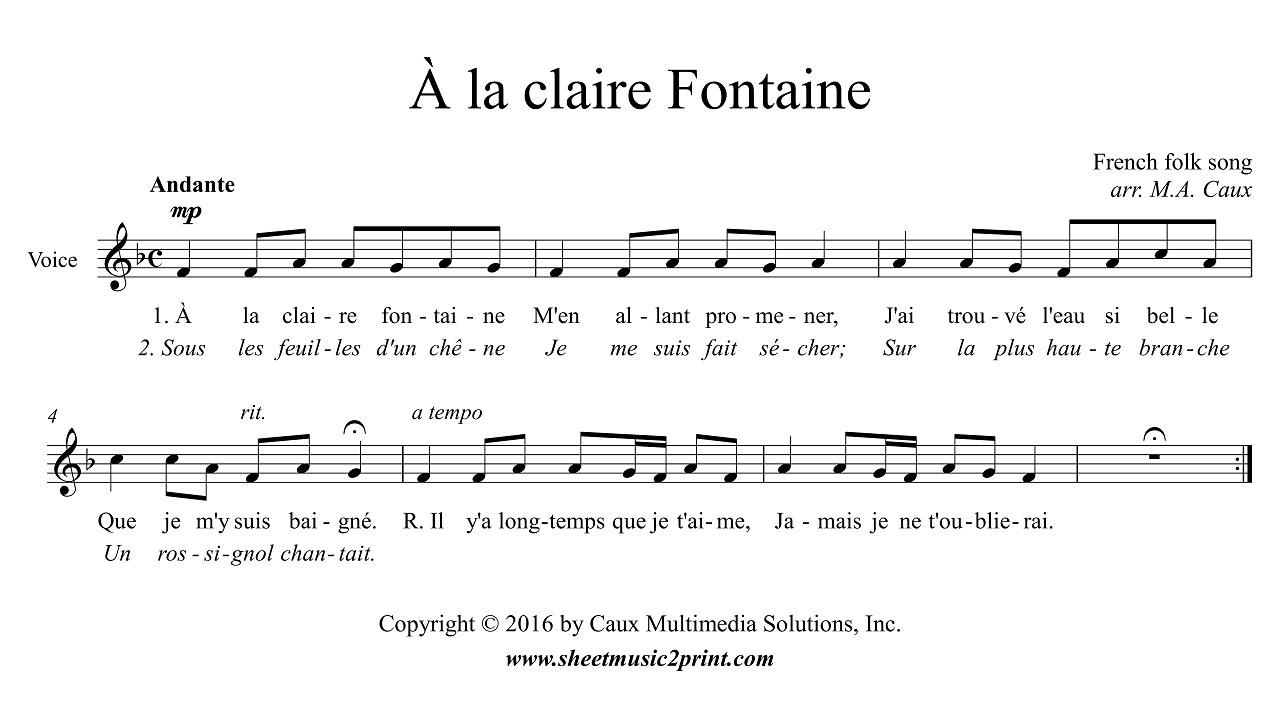Uncategorized A La Claire Fontaine la claire fontaine voice f major youtube major