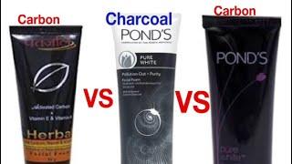 Patanjali Carbon VS Ponds Carbon Face Wash Vs Ponds Anti Pollution Charcoal
