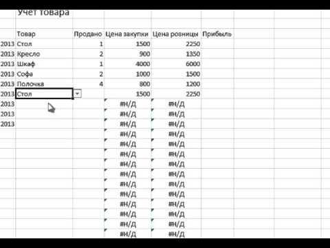 Учет товара в Excel - урок о том, как вести учет товара в Excel