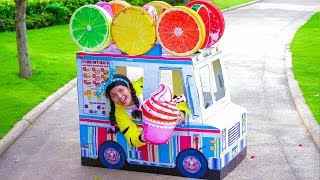 Linda Pretend Play with Fruit & Ice Cream Cart Food Truck Playhouse