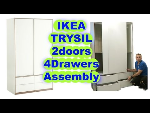 IKEA Wardrobe TRYSIL sliding doors 4 drawers assembly