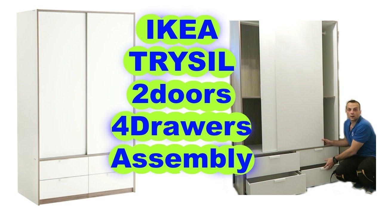 IKEA Wardrobe TRYSIL sliding doors 4 drawers assembly - YouTube