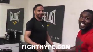 ANDRE WARD CHECKS IN ON ANDRE BERTO; BEHIND-THE-SCENES LOOK AT THEM JOKING AROUND IN CAMP FOR ORTIZ