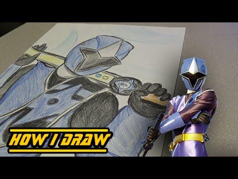 ninja steel blue ranger - how i draw - youtube