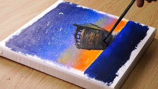 Sunset & Small Boat    Landscape Painting Tutorial #61