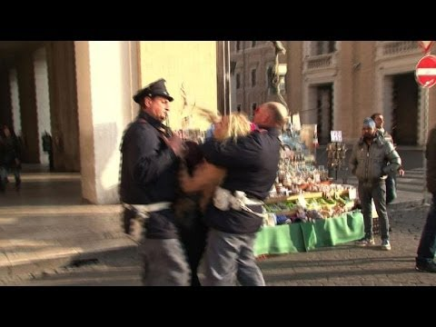 Feminist goes topless in Vatican abortion protest