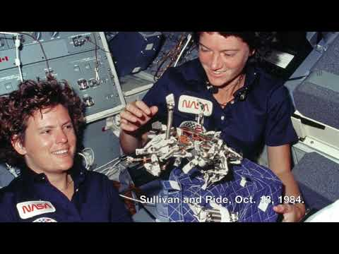 Astronaut Kathryn Sullivan was first woman to walk in space, Oct. 11, 1984