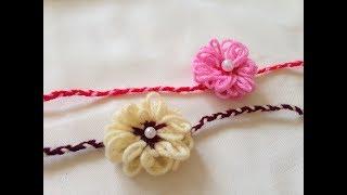 how to make rakhi with wool   Rakhi making   Rakshabandhan   diy rakhi in 5 minutes   wool flowers