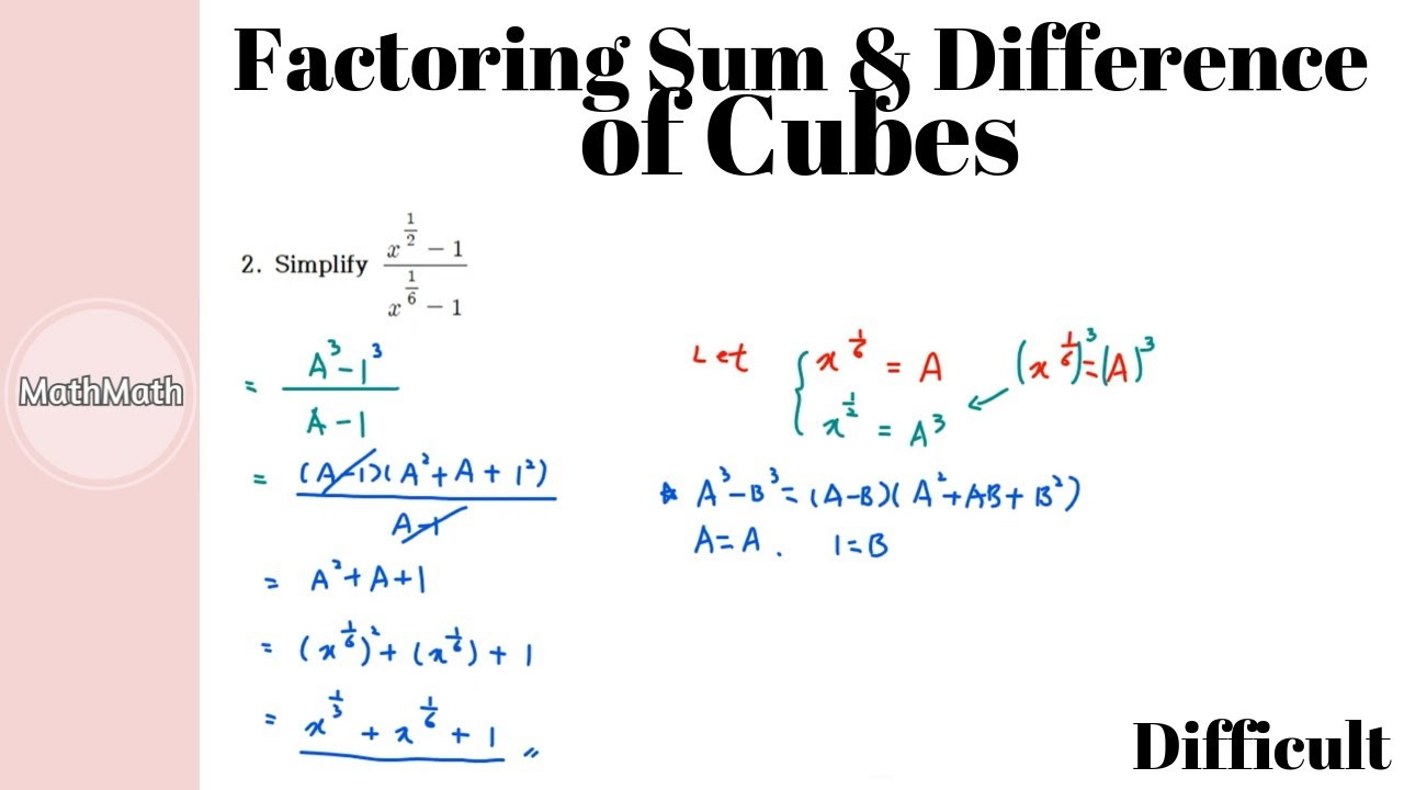 Polynomials - HOW TO: Factoring Sum and Difference of ...