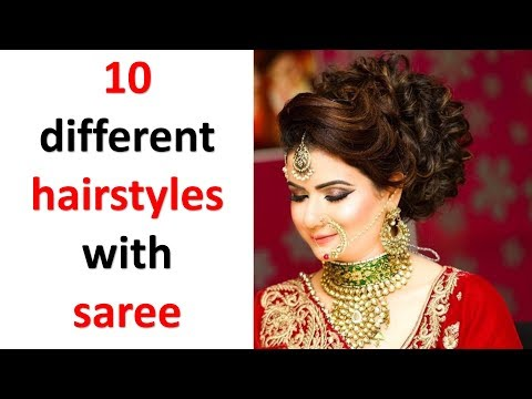 10 beautiful hairstyles with saree || simple hairstyles || ladies hair style || trending hairstyles thumbnail