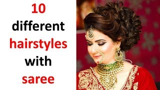 10 beautiful hairstyles with saree || simple hairstyles || ladies hair style || trending hairstyles
