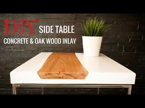 Tischplatte aus Beton mit Holzeinlage // DIY side table made of concrete