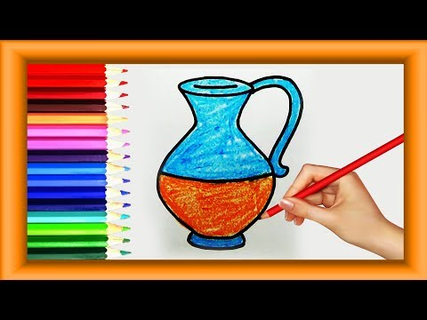 Step by Step how to Draw JUG for kids | Very Easy | Simple Coloring pages |Preschool | Lotusbaby TV