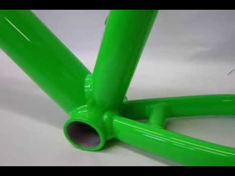 Powder Coating Fluorescent Green Bicycle Frame - YouTube