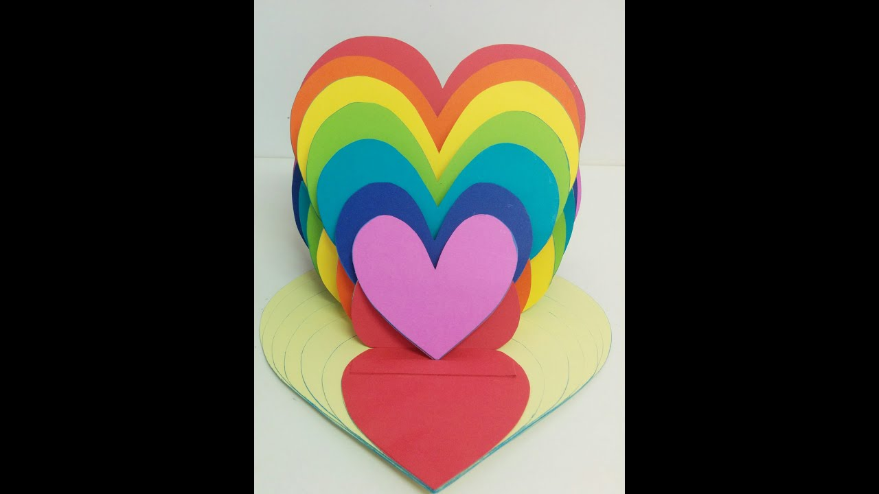Art and Craft: Rainbow Heart Valentine Day Card - YouTube - photo#5