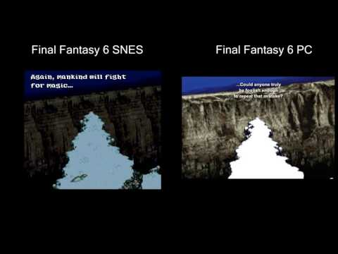 Final Fantasy 6 SNES vs PC (steam), side by side comparison