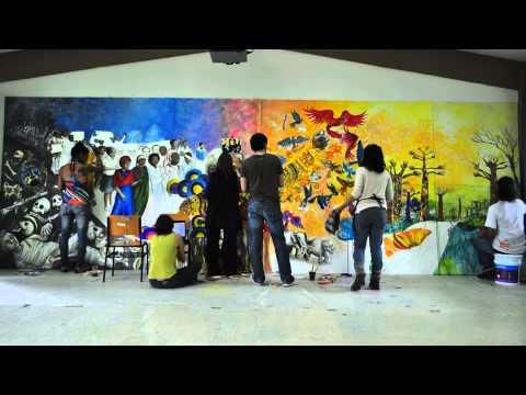 """Colectivo Ideograma, """"Mandela y la paz"""" time-lapse, Galeana, Morelos, 2012."""