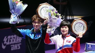 Joint inter-Korean team wins mixed doubles at Korea Open