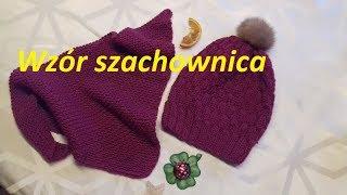 192*Szachownica*Wzory  na drutach dla początkujących*Wzór na czapki-szaliki-opaski*