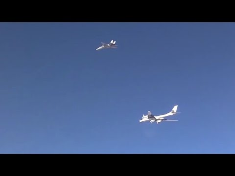 Iran F-14 Tomcat Escorting Russian Tu-95 Missile Carrier during air strike in Syria