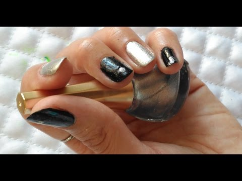 Unless You Are in a Wonderful Harmony of Black and Silver Nail Polish