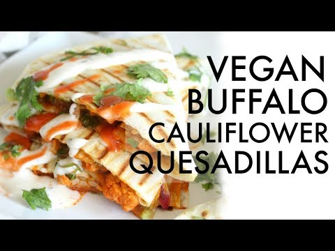 VEGAN BUFFALO CAULIFLOWER QUESADILLAS | This Savory Vegan