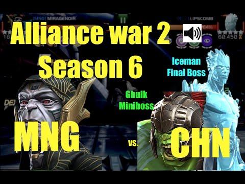 MCOC AW 2 season 6 : MNG vs. CHN ally : Path 1 + miniboss + final boss!!!