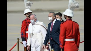Pope Francis arrives in Iraq and greets civil authorities