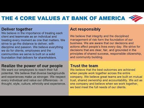 The 4 Core Values At Bank Of America Via Brian Moynihan
