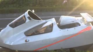 2台のオミクロンサイドカーで夕日の時間に撮影ミニツーリング.