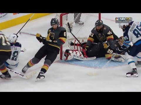 Fleury stretches for unreal save on Perreault