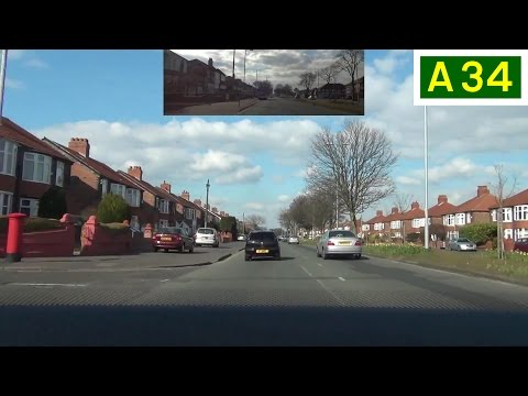 A34 Kingsway, South Manchester (Part 2) - Northbound Front View with Rearview Mirror