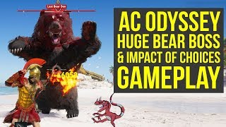 Assassin's Creed Odyssey Gameplay E3 - Huge BEAR BOSS & Impact Of Choices (AC Odyssey Gameplay E3)