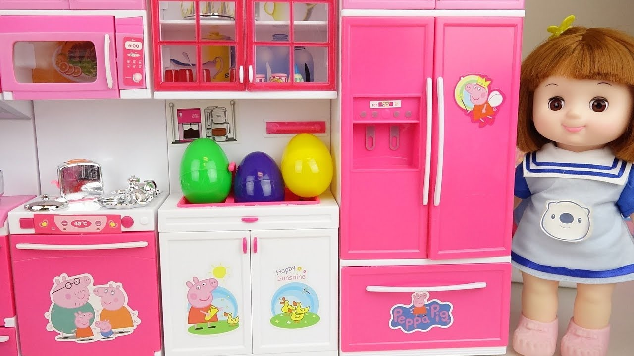 Baby Doll Kitchen Set And Surprise Eggs Toys Baby Doli Play Youtube