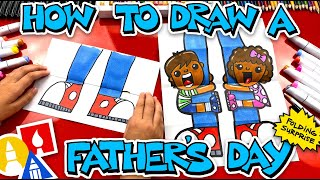 How To Draw A Funny Fathers Day Folding Surprise