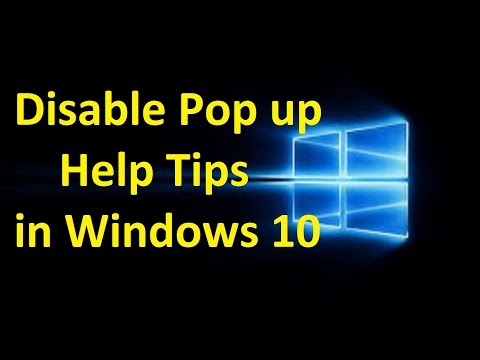 Disable Pop up Help Tips in Windows 10!! - Howtosolveit