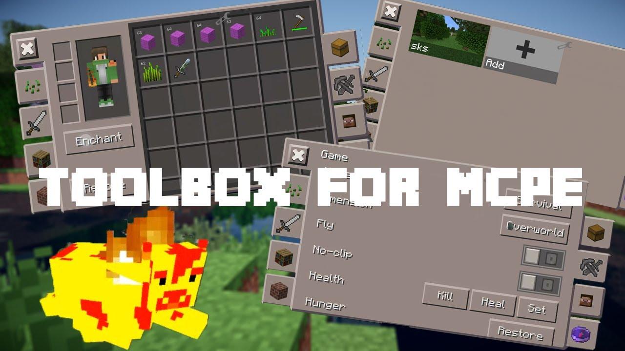 Toolbox мод/чит для minecraft pe 1. 4. 2. 0, 1. 4. 1. 0, 1. 5. 0. 4, 1. 2.