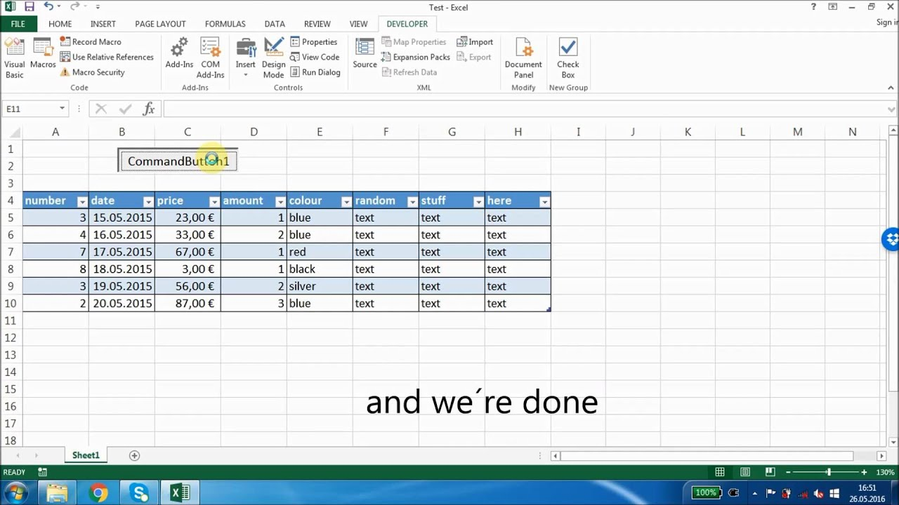 Excel 2013 How To Dd New Row With M Nd T Vb Code