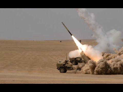 USMC M142 HIMARS firing GMLRS (HIGH MOBILITY ARTILLERY ROCKET SYSTEM)