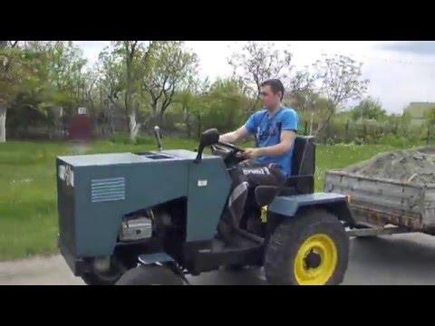 Самодельный мини-трактор , перевозка песка.