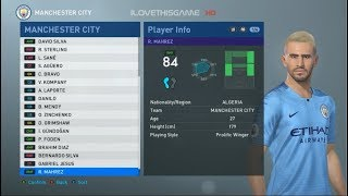 PES 2019 FACE & PLAYER RATING : Manchester City