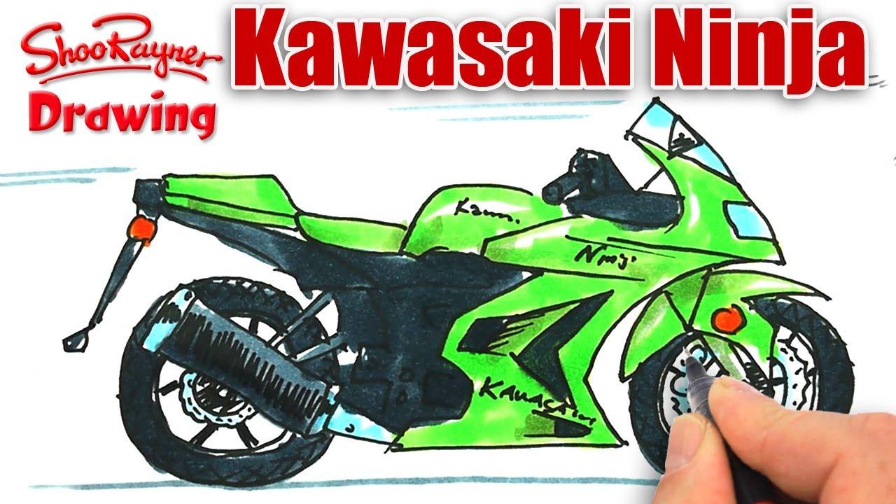 How to draw a Kawasaki Ninja Motor Bike - YouTube