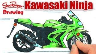 How to draw a Kawasaki Ninja Motor Bike